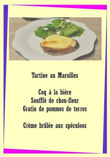 exemple de menu table d'hôte Sorbais Aisne Picardie