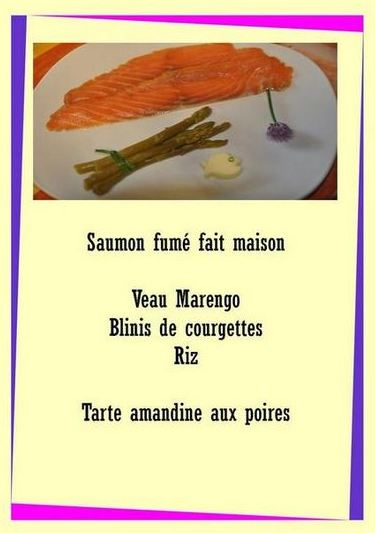 autre menu de la table d hote à Sorbais entre La Capelle et Vervins